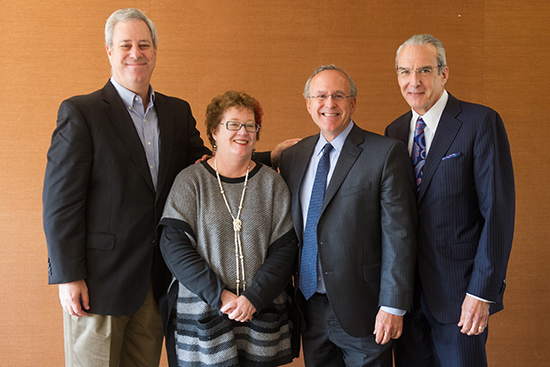 Robert Stern, a MED professor and clinical core director of BU's Alzheimer's Disease Center and CTE Center, second from right, with his three co-principal investigators on the study, left to right: Eric Reiman, executive director, Banner Alzheimer's Institute; Martha Shenton, director, Psychiatry Neuroimaging Laboratory and senior scientist, Brigham and Women's Hospital; and Jeffrey Cummings, director, Cleveland Clinic Lou Ruvo Center for Brain Health.
