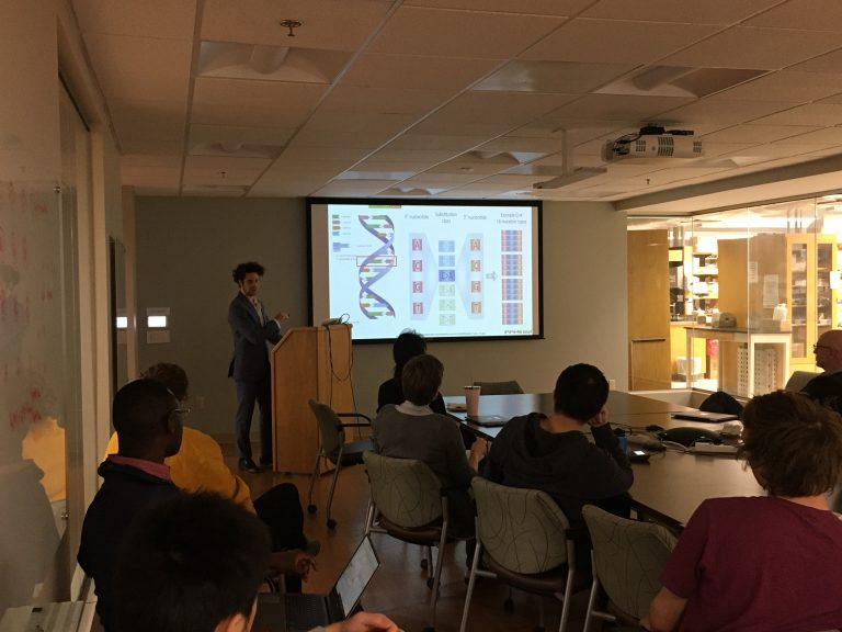 PhD candidate Aaron Chevalier of the Campbell Lab presenting in the CBM Seminar Series