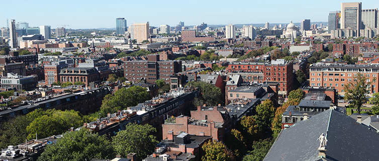 view of Boston from above