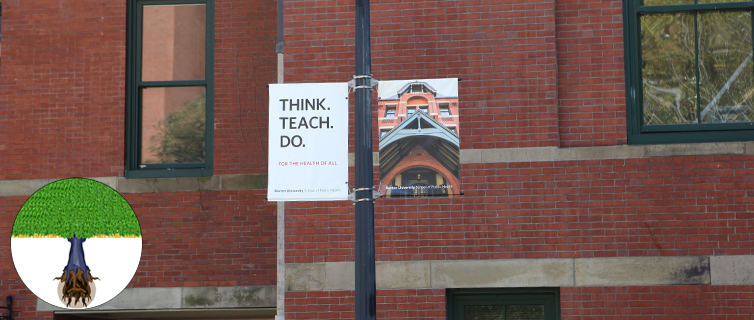 "sign outside the school saying, ""Think, Teach, Do"""