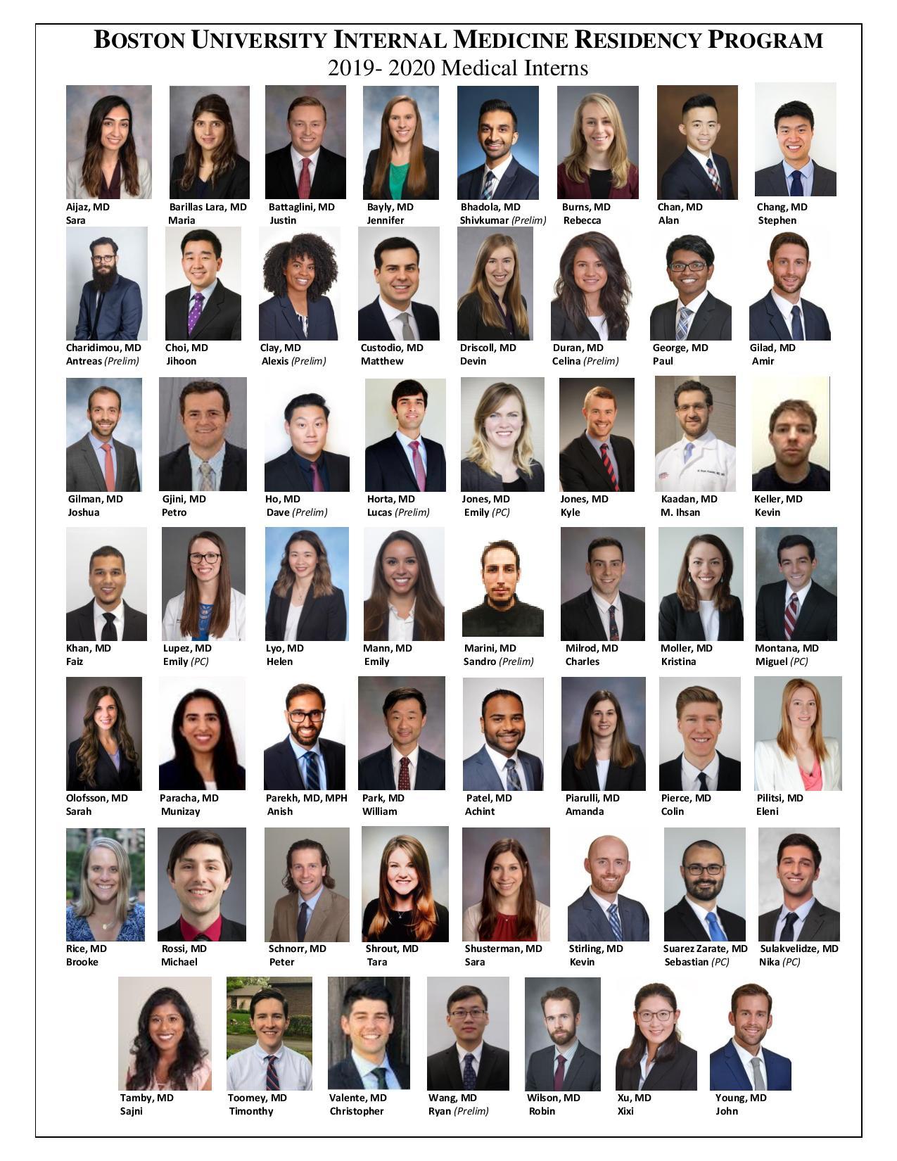 2019-2020 IM Residency Classes | Internal Medicine Residency