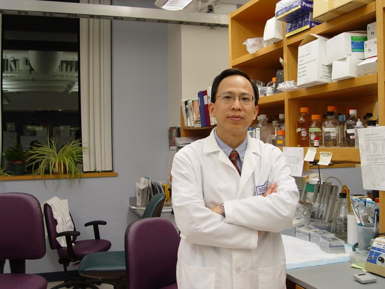 Dr. Weining Lu in his lab