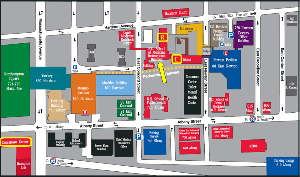 The Pulmonary Center is located in the R (Housman), E (Evans), and Crosstown buildings.  Our central office is located in R-304.  Access to the Pulmonary Center Office (and R and E Building offices and labs) is indicated by the yellow arrow.