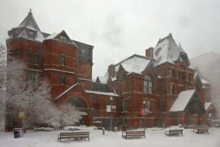 Talbot Building in winter, BU Medical Campus