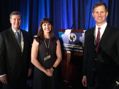Stephanie Talutis, MD, MPH, presented at the 2018 AAES annual meeting. With her are (L) David McAneny, MD, and (R) Thurston Drake, MD, MPH